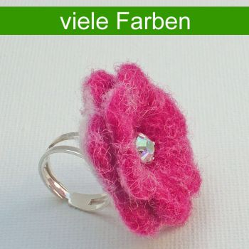 Ring 'In voller Blüte!', 925 Silber-Ringschiene, Kristall